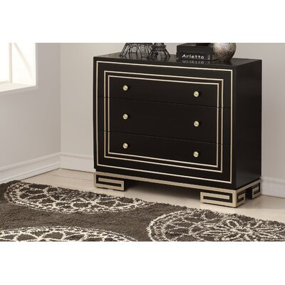 Mong 3 Drawer Accent Chest Color: Black