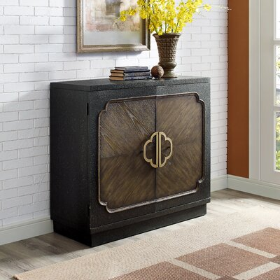 Eli Traditional Heavily Distressed 2 Door Accent Cabinet