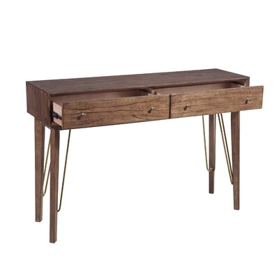 Verville Mid-Century Modern Two Drawer Accent Storage Console Table