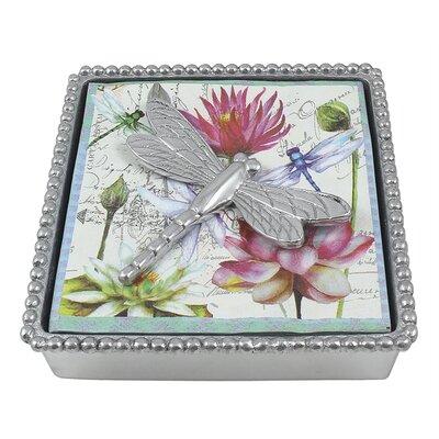 Gregarious Garden Dragonfly Beaded Napkin Box