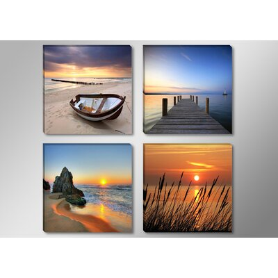 Urban Designs Beach, Boat, Berth and Reeds 4 Piece Photographic Print on Canvas Set