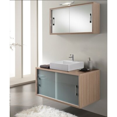 Urban Designs Giava 90cm Wall Mounted Vanity Unit with Mirror, Tap and Cabinet