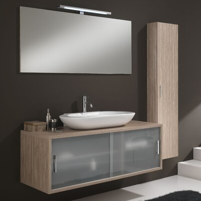 Urban Designs Giava 130cm Wall Mounted Vanity Unit with Mirror, Tap and Cabinet