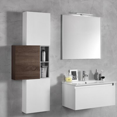Urban Designs Tuvalu 131cm Wall Mounted Vanity Unit with Mirror, Tap and Cabinet