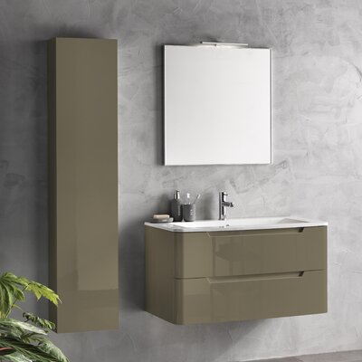 Urban Designs Tuvalu 98cm Wall Mounted Vanity Unit with Mirror, Tap and Cabinet