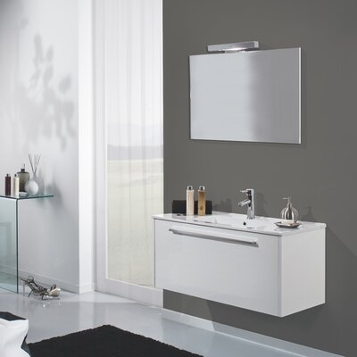 Urban Designs Mali 100cm Wall Mounted Vanity Unit with Mirror, Tap and Cabinet