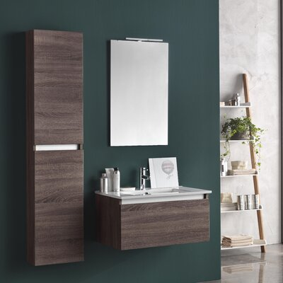 Urban Designs Tuvalu 107cm Wall Mounted Vanity Unit with Mirror, Tap and Cabinets