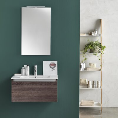 Urban Designs Tuvalu 71cm Wall Mounted Vanity Unit with Mirror, Tap and Cabinet