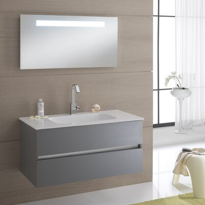 Urban Designs Borneo 100cm Wall Mounted Vanity Unit with Mirror, Tap and Cabinet
