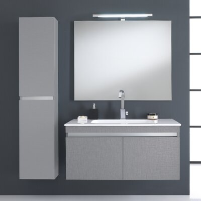 Urban Designs Borneo 130cm Wall Mounted Vanity Unit with Mirror, Tap and Cabinets