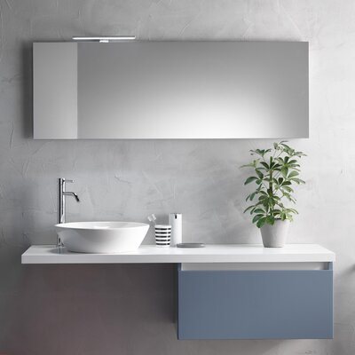 Urban Designs Tuvalu 140cm Wall Mounted Vanity Unit with Mirror, Tap and Cabinet