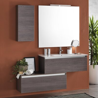 Urban Designs Tuvalu 150cm Wall Mounted Vanity Unit with Mirror, Tap and Cabinet