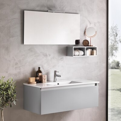 Urban Designs Tuvalu 101cm Wall Mounted Vanity Unit with Mirror, Tap and Cabinet