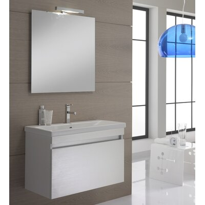 Urban Designs Borneo 80cm Wall Mounted Vanity Unit with Mirror, Tap and Cabinet