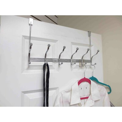 6 Hook Tri-Bar Wall Mounted Coat Rack