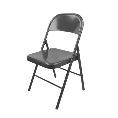 "Metal Folding Chair Size: 30.7"" H x 17.7"" W x 18.3"" D, Color: Gray"