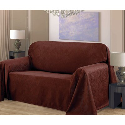 Medallion Box Cushion Sofa Slipcover Upholstery: Chocolate
