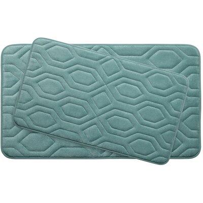 Turtle Shell Large 2 Piece Premium Micro Plush Memory Foam Bath Mat Set Color: Marine Blue