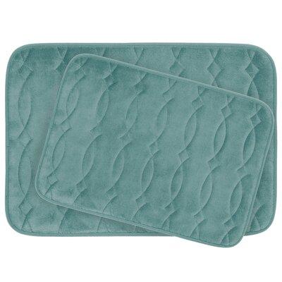 Grecian Large 2 Piece Plush Memory Foam Bath Mat Set Color: Marine Blue