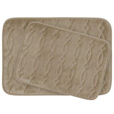 Grecian Large 2 Piece Plush Memory Foam Bath Mat Set Color: Linen