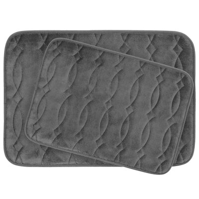 Grecian Large 2 Piece Plush Memory Foam Bath Mat Set Color: Dark Grey