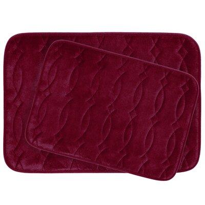 Grecian Large 2 Piece Plush Memory Foam Bath Mat Set Color: Barn Red