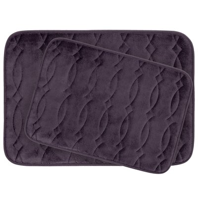 Grecian Large 2 Piece Plush Memory Foam Bath Mat Set Color: Plum