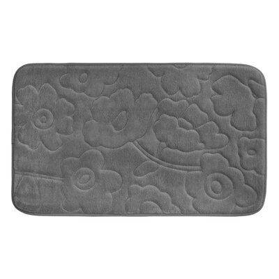 "Stencil Floral Plush Memory Foam Bath Mat Color: Dark Grey, Size: 24"" x 17"""