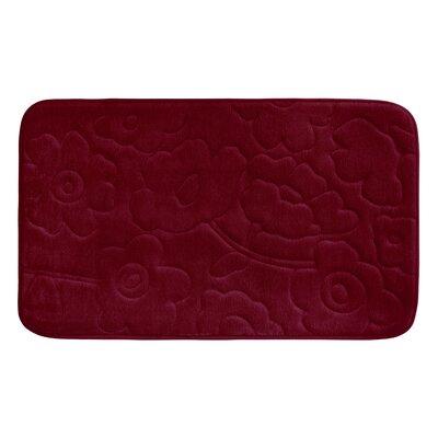 "Stencil Floral Plush Memory Foam Bath Mat Color: Barn Red, Size: 24"" x 17"""