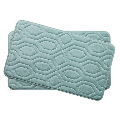 Turtle Shell Small Premium Micro Plush Memory Foam Bath Mat Set Color: Aqua