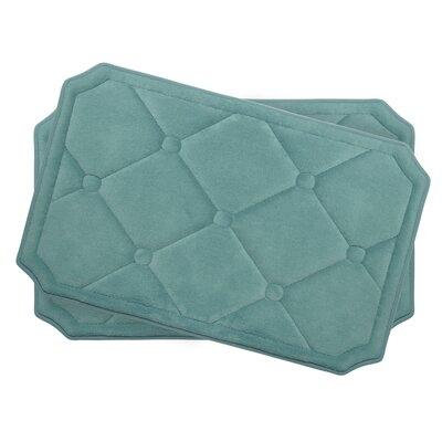 Gertie Small Premium Micro Plush Memory Foam Bath Mat Set Color: Marine Blue