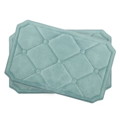 Gertie Small Premium Micro Plush Memory Foam Bath Mat Set Color: Aqua