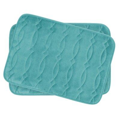 Grecian Small Plush Memory Foam Bath Mat Set Color: Turquoise