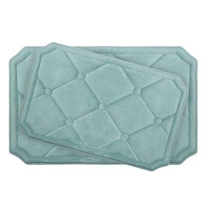 Gertie Large 2 Piece Premium Micro Plush Memory Foam Bath Mat Set Color: Aqua