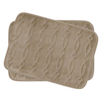 Grecian Small Plush Memory Foam Bath Mat Set Color: Linen