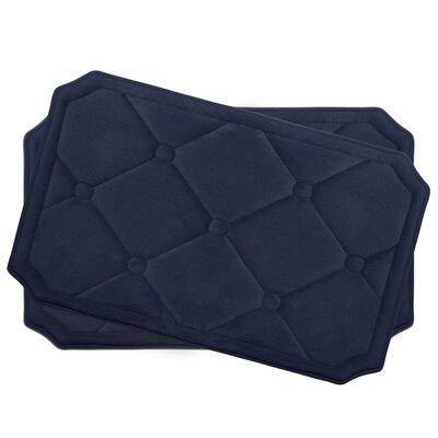 Gertie Small Premium Micro Plush Memory Foam Bath Mat Set Color: Indigo