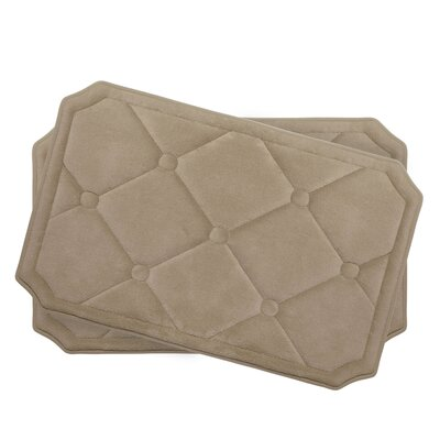 Gertie Small Premium Micro Plush Memory Foam Bath Mat Set Color: Linen