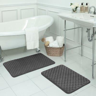 Massage Small Premium Micro Plush Memory Foam Bath Mat Set Color: Dark Grey