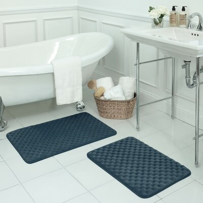 Massage Small Premium Micro Plush Memory Foam Bath Mat Set Color: Dusty Blue