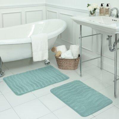 Waves Small Premium Micro Plush Memory Foam Bath Mat Set Color: Aqua