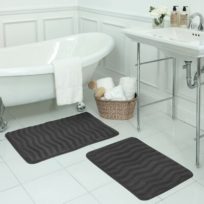 Waves Small Premium Micro Plush Memory Foam Bath Mat Set Color: Dark Grey
