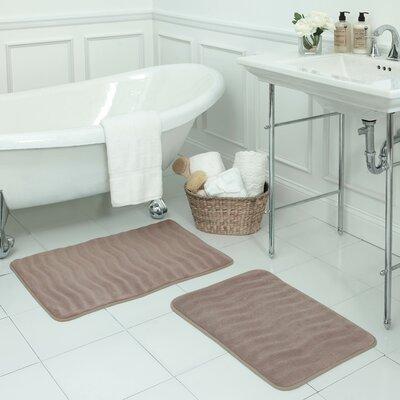 Waves Small Premium Micro Plush Memory Foam Bath Mat Set Color: Linen
