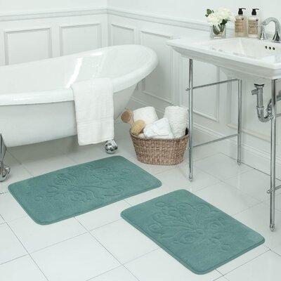 Reve 2 Piece Micro Plush Memory Foam Bath Mat Set Color: Marine Blue