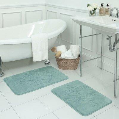 Reve 2 Piece Micro Plush Memory Foam Bath Mat Set Color: Aqua