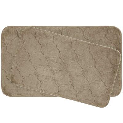 Faymore 2 Piece Plush Memory Foam Bath Mat Set Color: Linen