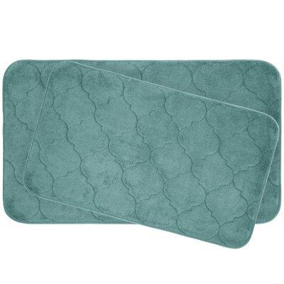 Faymore 2 Piece Plush Memory Foam Bath Mat Set Color: Blue