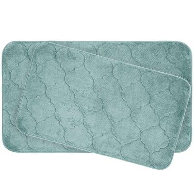Faymore 2 Piece Plush Memory Foam Bath Mat Set Color: Aqua
