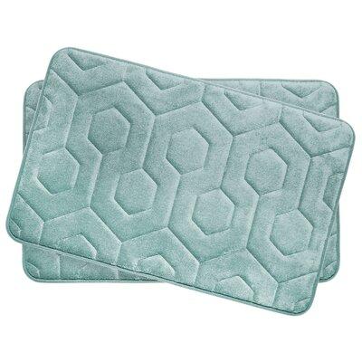 Hexagon Small Plush Memory Foam Bath Mat Color: Aqua