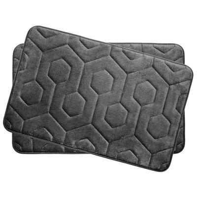 Hexagon Small Plush Memory Foam Bath Mat Color: Dark Grey