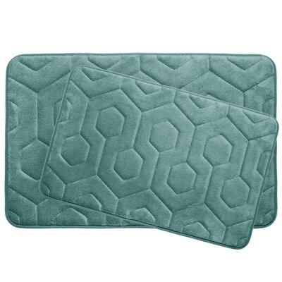 Hexagon 2 Piece Plush Memory Foam Bath Mat Set Color: Marine Blue